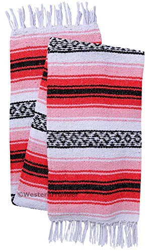 El Paso Designs Genuine Mexican Falsa Blanket - Yoga Studio Blanket, Colorful, Soft Woven Serape Imported from Mexico (Pink and Light Pink) (Pink Imported)