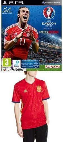 Pro Evolution Soccer (PES) UEFA Euro France 2016 + 1ª Equipación Selección Española de Fútbol Euro 2016 - Camiseta oficial adidas, talla S Authentic: Amazon.es: Videojuegos