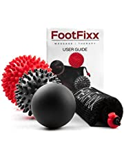 FlexFixx MASSAGE BALL THERAPY SET - Foot Massager Best for Plantar Fasciitis, Trigger Point, Acupressure, Reflexology, Deep Tissue, Physical Therapy - Spiky, Porcupine & Lacrosse Balls for Your Feet
