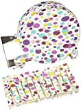Household Essentials Single Line Retractable Clothesline with Coordinated Fashion Clothespins, Purple Dot