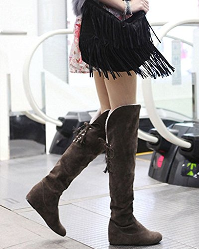 Maybest Women Winter Warm Snow High Boots Fur Boots Flat Shoes Over The Knee Brown jJOcfOu