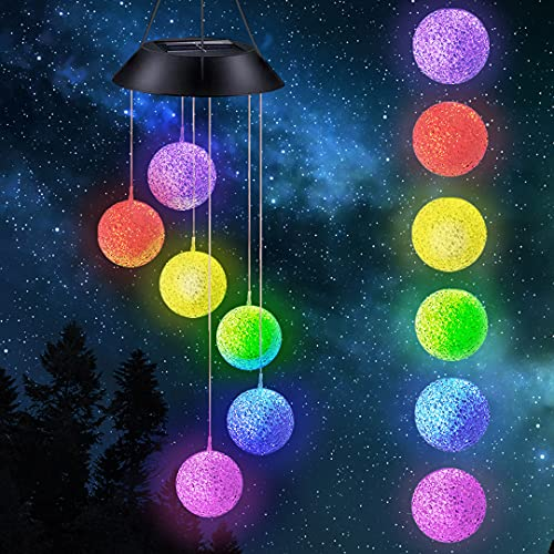 Ahtliay LED Solar Ball Wind Chime Garden Decor Outdoor Waterproof Solar Lights Gifts for Mom Grandma,Automatic Light…