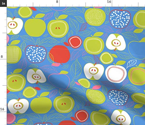 (Spoonflower Apple Trees Design Fabric - Apples Green and Red Fruits Healthy Eating Blue Fruit Food Print on Fabric by The Yard - Modern Jersey - for Fashion Apparel Clothing with 4-Way Stretch )