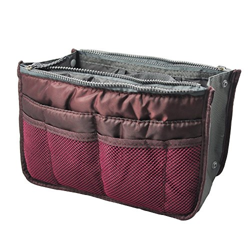 FakeFace Fashion High Quality Women Ladies Travel Insert Pockets Handbag Comestic Organiser Gadget Portable Expandable Tidy Pouch Purse Double Zipper Nylon Toiletry Makeup Bag (Northam 2 Light)
