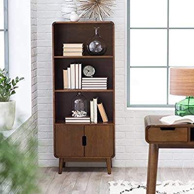 Belham Living Carter Mid Century Modern Bookcase - Walnut finish Modern/transitional style Solid poplar and MDF with birch veneers - living-room-furniture, living-room, bookcases-bookshelves - 51ZCQ965BnL. SS400  -