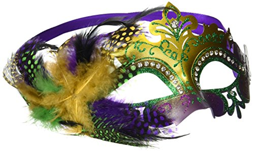 Beistle Metal Filigree Masquerade Mask with Feathers (Gold Mardi Gras Mask)