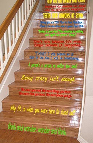 GMDdecals Dr Seuss Inspired Quote Assorted Set Vinyl Stair or Wall Decal [Multi] 24