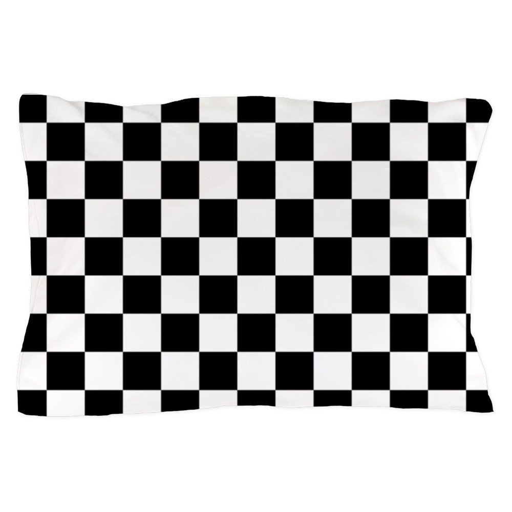 CafePress - BLACK AND WHITE Checkered Pattern - Standard Size Pillow Case, 20