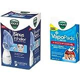 Vicks Personal Sinus Steam Inhaler with Pads Bundle (Sinus Inhaler w/ 12 Vapo Pads)