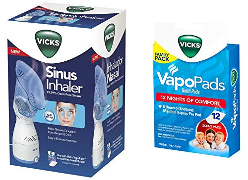 Vicks Personal Sinus Steam Inhaler with Pads Bundle (Sinus Inhaler w/ 12 - Steam Inhalers Inhaler