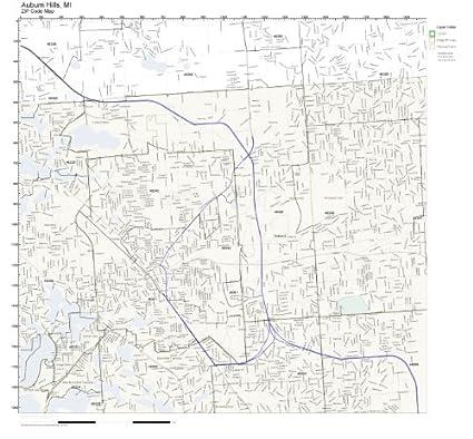 Amazon.com: ZIP Code Wall Map of Auburn Hills, MI ZIP Code Map
