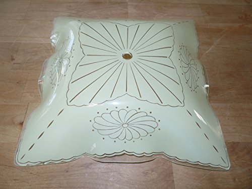 Ceiling Mount Light Fixture Shade Glass Frosted Pattern Floral Scallop Dots Vtg