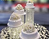 Set of 3 Acrylic Crystal Chandelier Cake Stand By Forbes Favors Asian Style With Battery LED Lights for Wedding Cake, Anniversary or Special Occasion ( 6'', 8'' & 10'' Diameters)