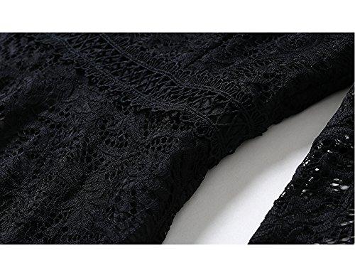 Dissa Yl11609 Femmes Solides Manches 3/4 Midi Dentelle Creux Soir, Une Ligne Noire De Robe De Soirée