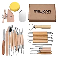 Meuxan 30 PCS Clay and Pottery Tool Set - 12-Month Warranty - Lifetime Customer Support SPECIFICATION - Length: 4.7-7.8 inches - Materials: Metal and Wood PACKAGE CONTENTS - Double Ended Detailing Tool - Spearhead and curved tool - Curved van...