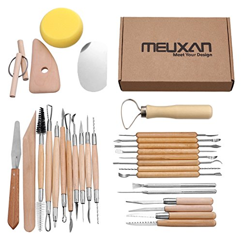 Meuxan 30PCS Pottery Tools Clay Sculpting Tool Set (Best Clay For Mask Sculpting)