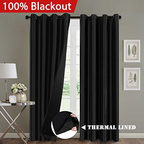 - H.VERSAILTEX Full Blackout Thermal Insulated Faux Silk Curtains, Multi-Function Noise Reducing Drapes with Black Lining Panels Pair for Patio, Nickel Grommet, 52 by 84 Inch, Black