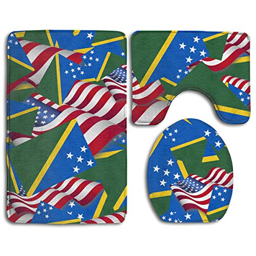 - CCBUTBA Bathroom Rug Mats Set 3 Piece Solomon Islands Flag with America Flag Extra Soft Bath Rugs (20