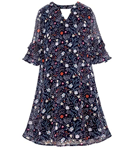 - Smukke, Big Girls Floral Printed Long Sleeves Dress with Lace Trim or Tiered Ruffles (Many Options) 7-16 (14, Navy)
