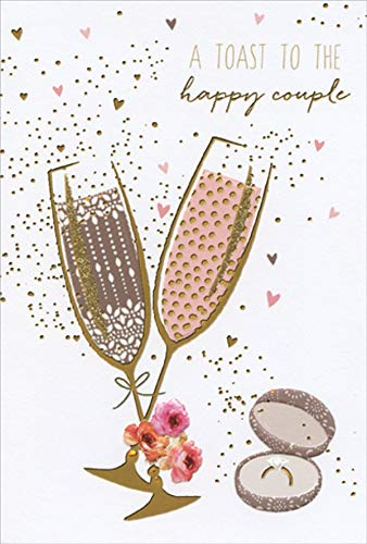 (Pictura Champagne Toast and Ring Sara Miller Engagement Congratulations Card)