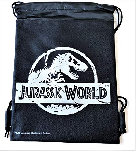 Jurassic World Drawstring Backpack Sling Tote School Sport Gym Bag (Silver)