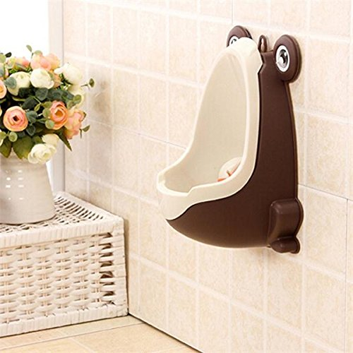 Shop24Hrs Lovely Frog Children Potty Toilet Kids Urinal Boys Stand Pee Trainer Bathroom Baby Toddler Stylish Wall Hang Coffee Color