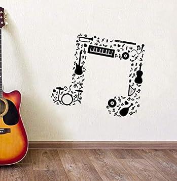 WJYdp Pegatinas De Pared Music Note Guitarra Saxofón Flauta Batería Orquesta Tatuajes Diseño Music Notes PVC