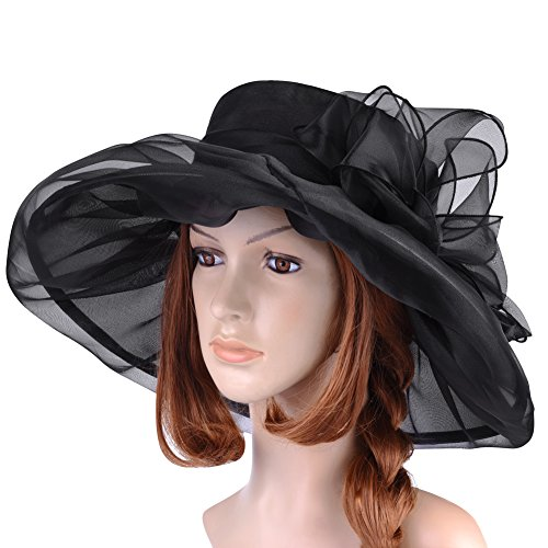 Vbiger Ketucky Derby Hats Church hats Large Wide Brim Gauze Hat For Women,Black2,one size by VBIGER