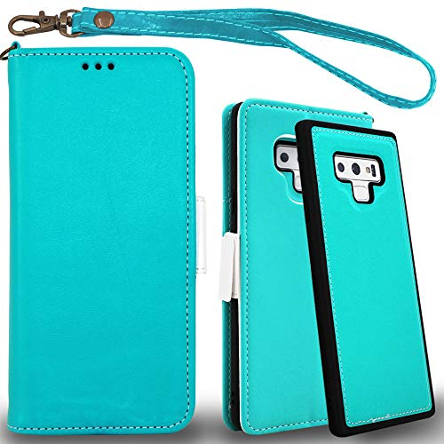 Mefon Galaxy Note 9 Wallet Case Leather Detachable, Durable Slim, Enhanced Magnetic Closure, with Wrist Strap, Card Slot, Kickstand, Luxury Flip Folio Cases for Samsung Galaxy Note9 6.4 (Turquoise)