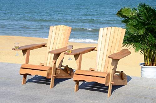 Safavieh PAT7034A-SET2 Outdoor Collection Breetel Teak (Set of 2) Adirondack Chair, Natural