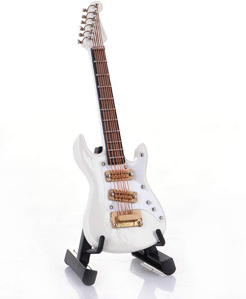 Guitarra de 10 cm Mini guitarra eléctrica modelo guitarra miniatura modelo Guitarra Collection adornos decorativos modelo regalo con estuche soporte estilo 3: Amazon.es: Instrumentos musicales