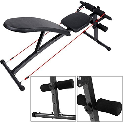 dtemple Adjustable Utility Fitness Bench, Folding Sit Up Bench Weight Barbell Bench Flat/Incline/Decline Workout Strength Utility Bench for Home Gym Exercise Training Fitness (US STOCK) by dtemple