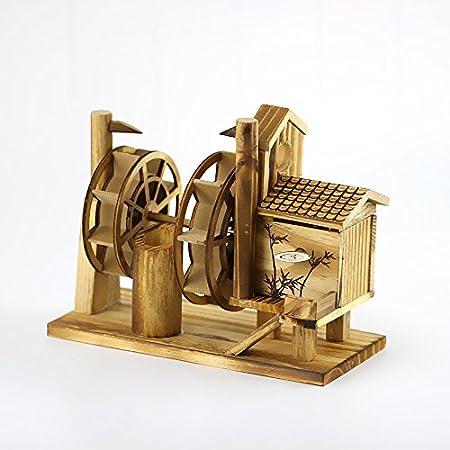 ZXZMONG Escultura Figuras Estatuas Decoracion Adornos De Madera Música Modelo De Rueda Hidráulica Decoraciones Caseras Creativas Vinoteca Adornos De Madera Artesanías Pequeñas Caja De Música