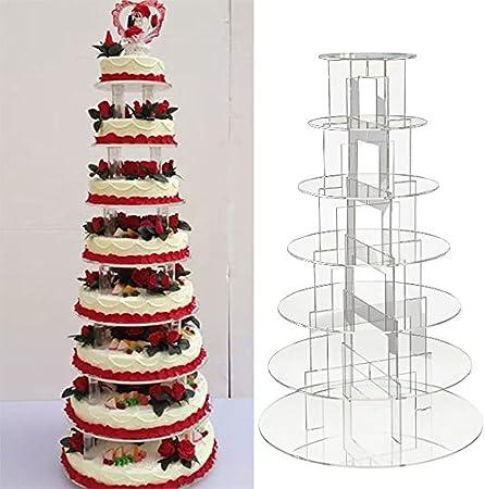 Display4top Support /à cupcake en acrylique 5 Tier Suqare pour mariage ou f/ête danniversaire Acrylique