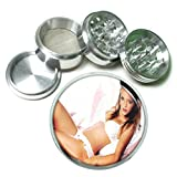 Argentina Pin Up Girls South America S2 Chrome Silver 2.5'' Aluminum Magnetic Metal Herb Grinder 4 Piece Hand Muller Herb & Spice Heavy Duty 63mm