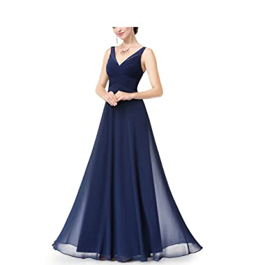 LoveWedding A-line V-Neck Chiffon Long Evening Dress Pleated Backless Elegant Maxi Prom