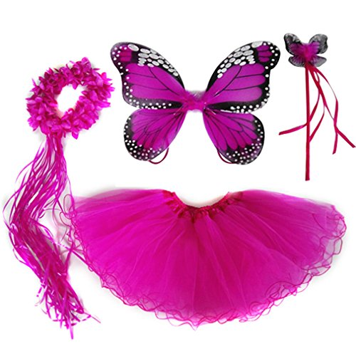 4 PC Girls Fairy Princess Costume Set with Wings, Tutu, Wand & Halo (Hot Pink) -