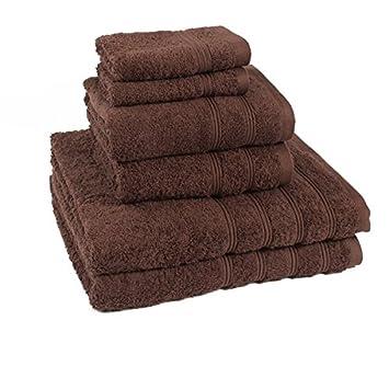 Linens Limited - Simplicity - Set de 6 toallas de hotel - 100 % algodón egipcio (450 g/m²) - Cacao: Amazon.es: Hogar