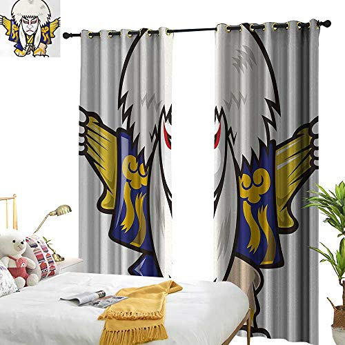 Anyangeight Kabuki Mask,Customized Curtains,Character with Kimono Costume Orient Elements Edo Era Arts Theater Play Print,W84 xL96,Suitable for Bedroom Living Room Study, etc.]()