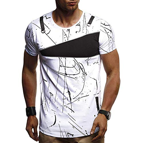 refulgence Men's Casual Fit O-Neck Printed Slim Splicing Short Sleeve T Shirt Top -