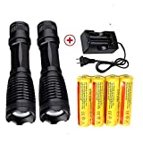 LED 18650 Flashlight 2000 LM(2 packs) with 4PCS
