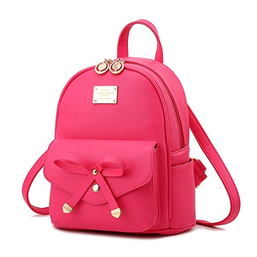 Go Girl Purse - Cute Mini Leather Backpack Fashion Small Daypacks Purse for Girls and Women,Hot Pink