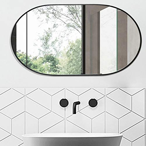 BGJZ Oval Wall Mirror 40MM Thick Aluminum Frame Mirror for Wall Decor -