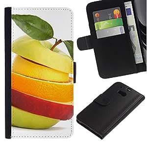 LECELL--Cuero de la tarjeta la carpeta del tirón Smartphone Slots Protección Holder For HTC One M8 -- Rebanadas de la fruta --