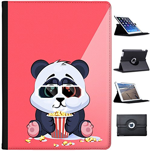 """Leather Case for Apple iPad Pro 12.9"""" (1st Generation) - Chubby Panda Cub Happy with Popcorn"""