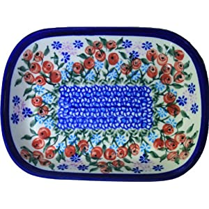 Polish Pottery Ceramika Boleslawiec 0726/282 Royal Blue Patterns Butter Platter, 6 by 4-1/2-Inch, Red Berries and Daisies