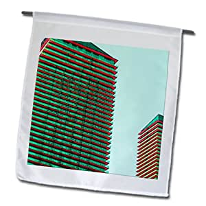 Jos Fauxtographee Realistic - Tall buildings done in a red and green finish - 18 x 27 inch Garden Flag (fl_64611_2)