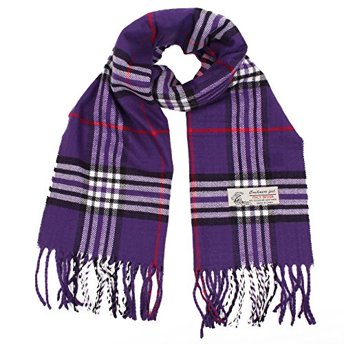 Plaid Cashmere Feel Classic Soft Luxurious Winter Scarf For Men Women (Purple)