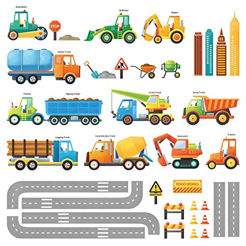 Decowall DW-1712 Construction Vehicles Kids Wall Stickers Wall Decals Peel and Stick Removable Wall Stickers for Kids Nursery Bedroom Living Room - Vehicle Decal