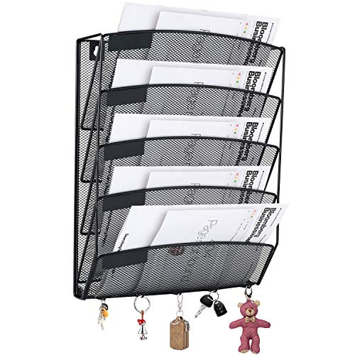 (SamStar Wall File Holder Organizer, Mesh Hanging Wall Mount Paper Letter Holder,5 Tier,Black)